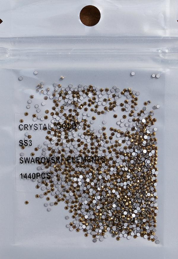 Стразы Swarovski ЗОЛОТО SS3 - 1,4 мм (в упаковке 1400 штук)