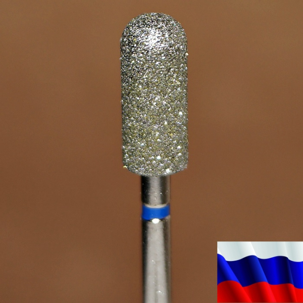 """Алмазная фреза """"ЦИЛИНДР закругленный"""" (синяя), d=5,0 мм"""