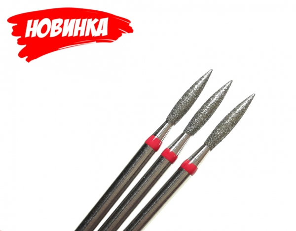 "Алмазная фреза ""ПЛАМЯ"" (красная), d=2,5 мм"