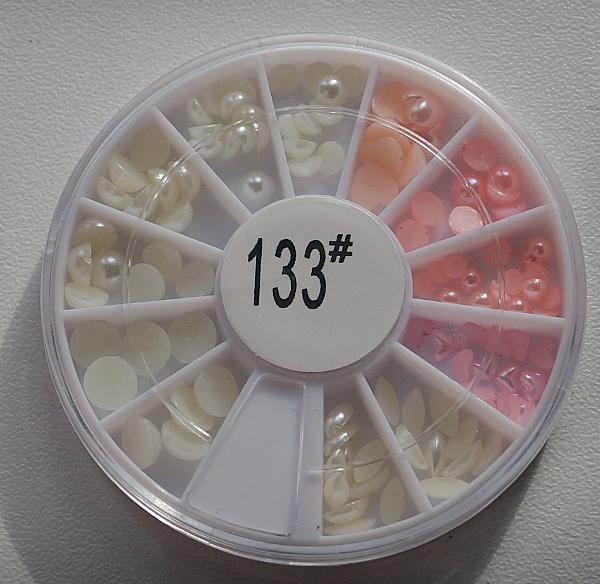 КАРУСЕЛЬ - крупный жемчуг (белый+розовый), #133