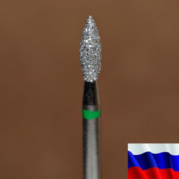 "Алмазная фреза ""ПЛАМЯ"" (зеленая), d=2,7 мм"