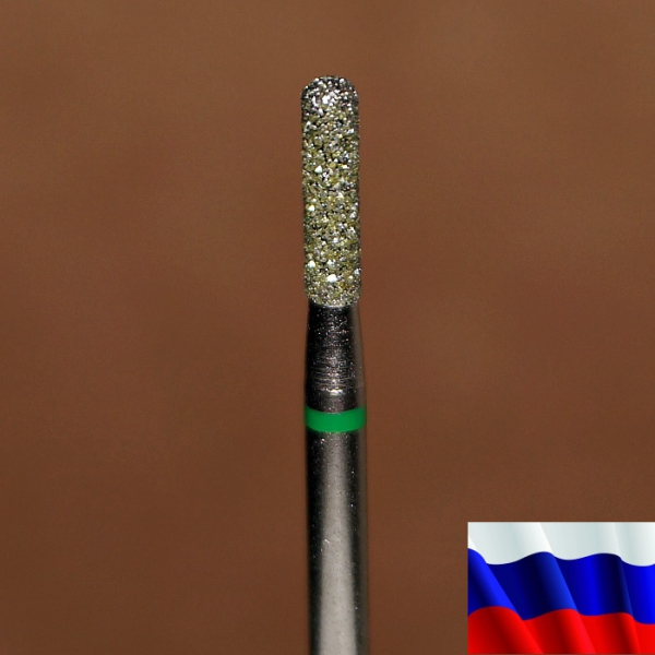 """Алмазная фреза """"ЦИЛИНДР закругленный"""" (зеленая), d=2,1 мм"""