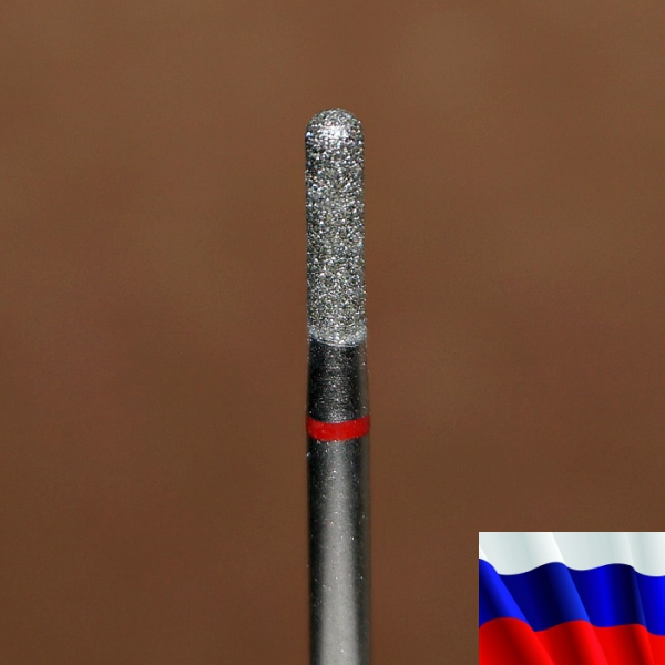 "Алмазная фреза ""ЦИЛИНДР закругленный"" (красная), d=2,5 мм"