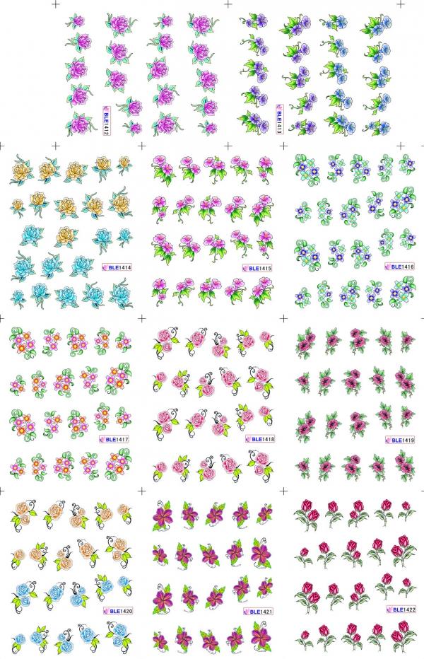 Наклейки цветные № BLE1412-1422, 11 штук на листе