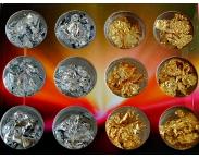 Фольга для дизайна (золото, серебро), 12 штук в наборе